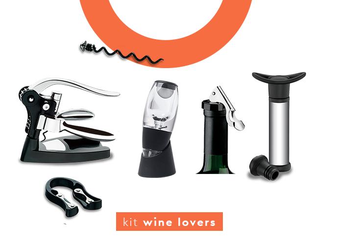 kit bar wine lovers: saca-rolha profissional, aerador de vinho, bomba a vácuo e tampa.