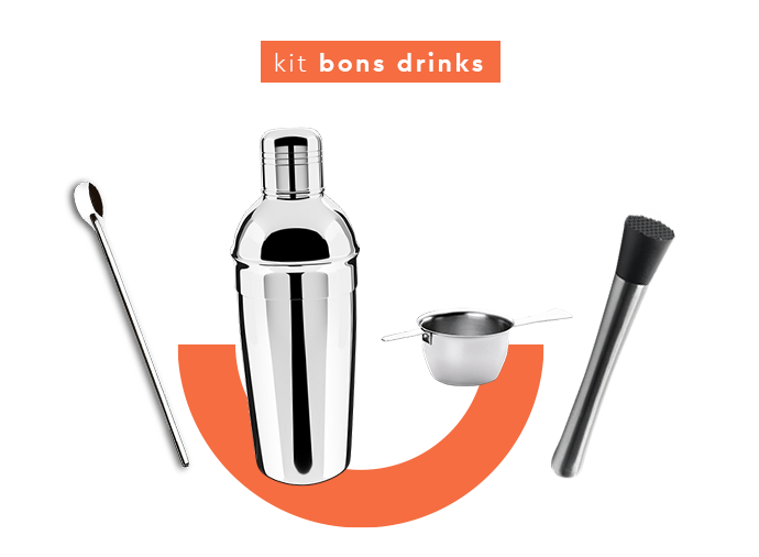 Kit bar bons drinks: colher bailarinha, coqueteleira, dosador e socador.