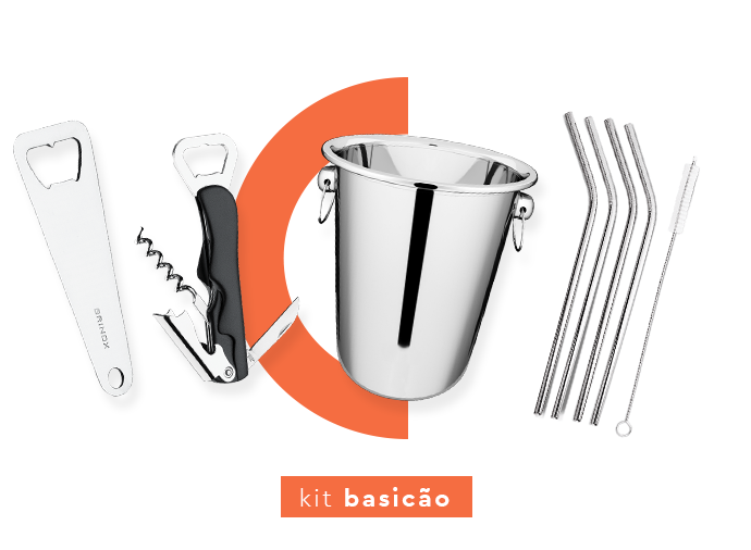 Kit bar basicão: abridor, saca-rolhas, balde de gelo e canudos de inox.